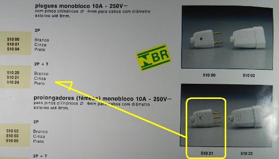 Figura 15 - Trecho de catálogo Pial de 1991, com as conexões NBR.