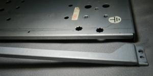 Figura 13 – Chapa de ferro galvanizado compatível para a adaptação, retirada de equipamento de sucata e já marcada para o corte.