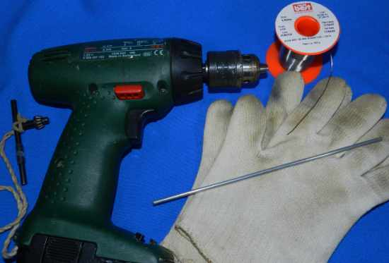 Figura 4 – Material necessário para enrolar os segmentos de solda.