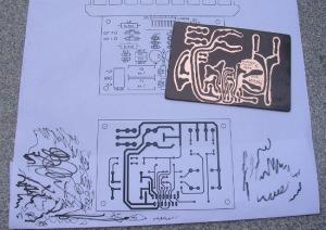 Figura 14 – Placa pronta para corrosão e respectivo projeto.