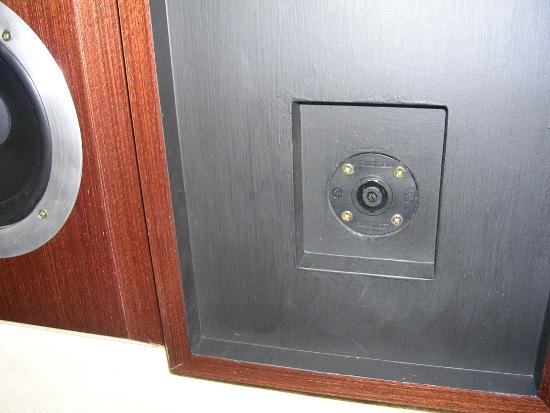 Figura 27 – Vista do conector traseiro de uma caixa, onde nota-se o rebaixo na madeira.