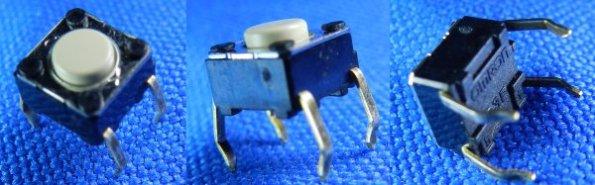 Figura 3 – Aparência de uma chave da linha táctil (B3F, tamanho 6x6 mm), da Omron [30].