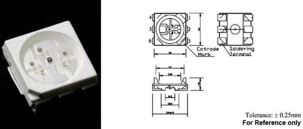 Figura 20 – Diodos ESD encapsulados, um para cada cor, num LED RGB. Fonte: Wah Wang [20].