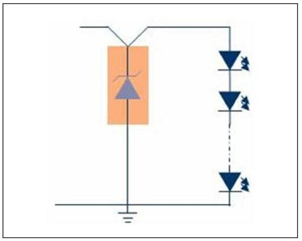 Figura 22 – Diodo zener, em paralelo com o conjunto de LEDs. Fonte Osram [16].
