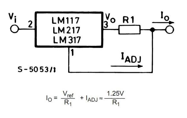 Figura 51 – Configuração do LM317 como fonte de corrente. Fonte: ST Microelectronics [25].