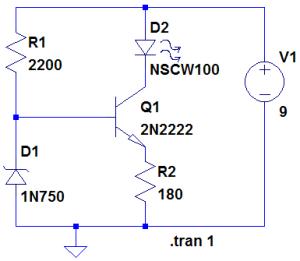Figura 54 – Fonte de corrente constante com transistores e diodo zener, para 20mA. Fonte: Troniquices [31].
