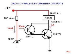 Figura 55 – Fonte de corrente com diodo zener e transistores em acoplamento Darlington, com 25W de potência. Fonte: Tnitrato [32].