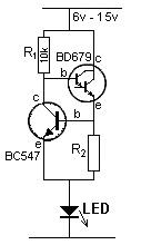 Figura 57 – Fonte de corrente para LEDs, com transistores, para até 100mA. Fonte: Eletroalerta [36].