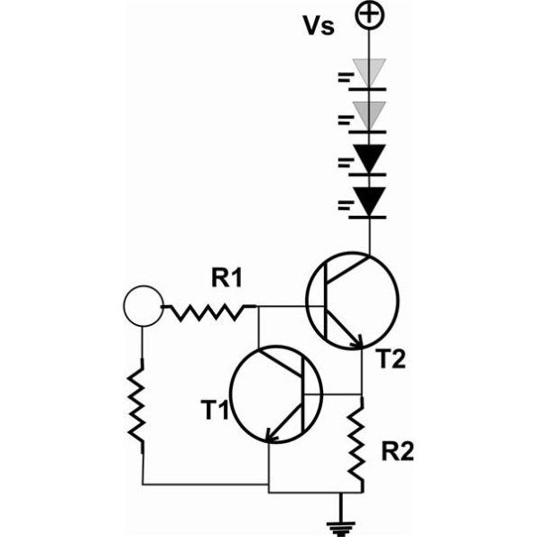 Figura 59 – Fonte de corrente para LEDs com transistores. Fonte: Brigth Hub Engineering [37]