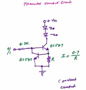 Figura 60 – Fonte de corrente para LEDs com transistores, manuscrita. Fonte: Delabs [38].