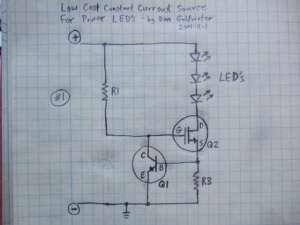 Figura 61– Fonte de corrente para LEDs, com transistor MOSFET. Fonte: Electronics-DIY [39].