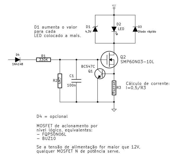 Figura 62 – Circuito de fonte de corrente, com partida e desligamento suave, mais proteções.