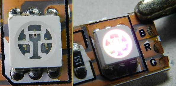 Figura 9 – Led RGB, montado em fita, pronto para ligação em 12V. A cobertura de silicone da fita foi removida, para melhor clareza da foto.