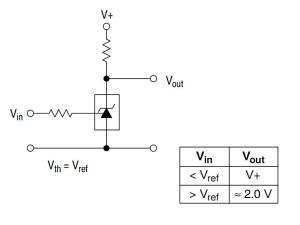 Figura 19 – Circuito comparador de tensão, com compensação de temperatura. Fonte: On Semiconductor [21].