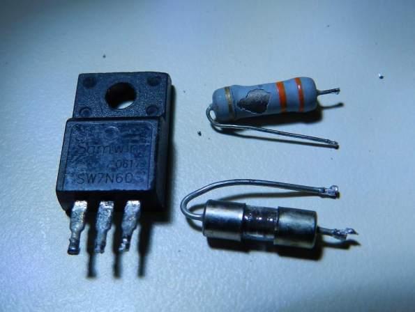 Figura 4 – Componentes inicialmente identificados como queimados.