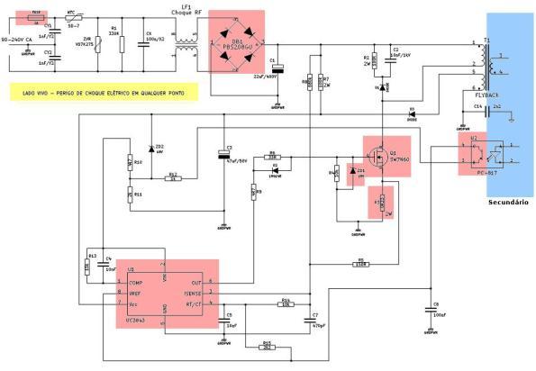 Figura 6 – Diagrama esquemático do primário da fonte chaveada multitensão.