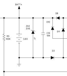 Figura 4 – Parte do esquema do telefone sem fio KX-TC1488LBB, aparelho móvel, onde se vê ZD2, junto à bateria. Fonte: Manual de serviço Panasonic [1].