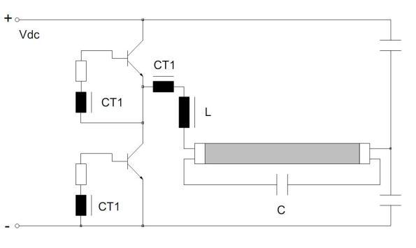 Figura 11 – Inversor meia ponte alimentado por tensão. Fonte: Philips [1].