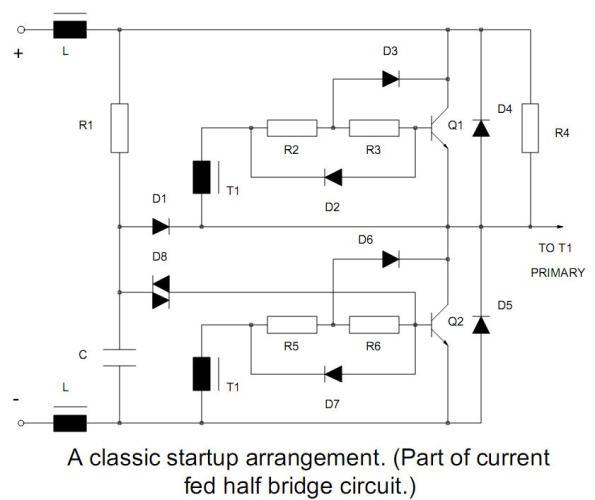 Figura 25 – Clássico circuito de partida para reatores de fluorescentes auto-oscilantes (parte de um circuito meia ponte). Fonte: Philips [1].