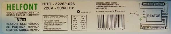 Figura 30 – Etiqueta de reator eletrônico sem pré-aquecimento.