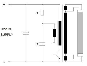 Figura 7 – Circuito de acionamento de fluorescente com oscilador de bloqueio. Fonte: Philips [1].