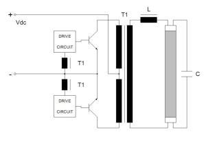 Figura 8 – Reator push pull alimentado por tensão, com saída isolada. Fonte: Philips [1].