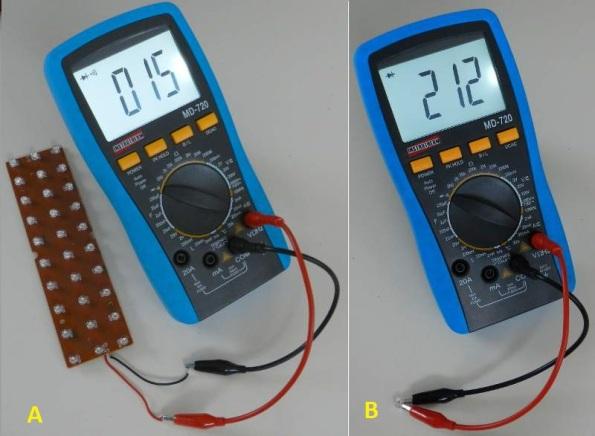 Figura 1 – a) Teste da placa de LEDs da luz de emergência; b) LED com fuga.