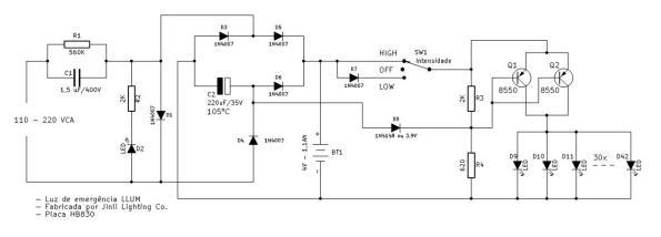 Figura 31 – Circuito original da luz de emergência LLUM.