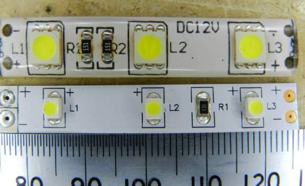 Figura 7 – Menor segmento de fitas de LEDs comerciais. A de cima está encapsulada em silicone e usa LEDs 5050 e a de baixo, 3528, ambos SMD.