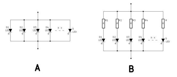 Figura 8 – Exemplo de modificação para acionamento de LEDs: a) circuito original; b) adaptação.