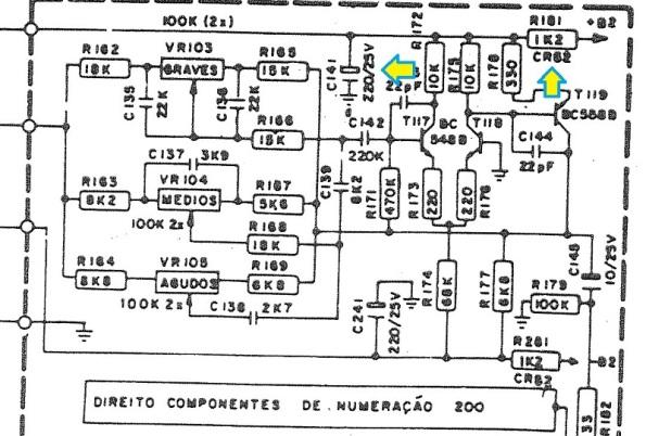 Figura 110 – Circuito de equalização do amplificador de áudio integrado com pré-amplificador Gradiente Model 366. Em destaque, os componentes utilizados para filtrar a alimentação deste estágio.