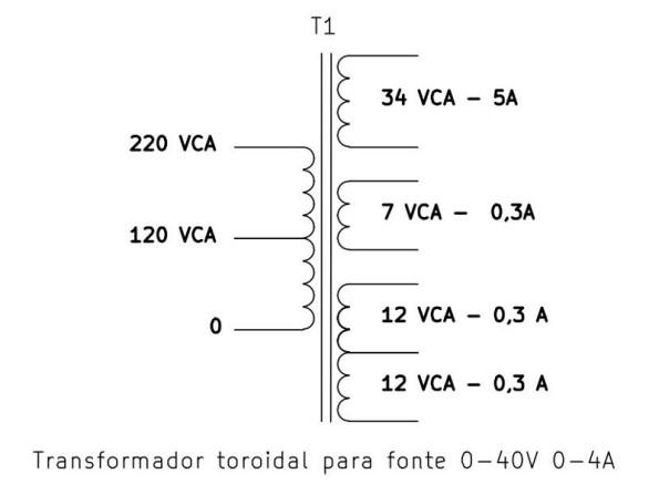 Figura 21 – Enrolamentos do transformador para a fonte de 0-40V, 0-4A.