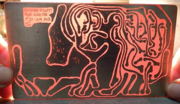 Figura 30 – Placa corroída, onde é possível ver as falhas da cobertura de cobre.