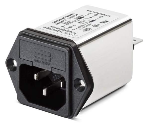 Figura 76 – Tomada Schaffner padrão IEC com fusível e filtro de linha.