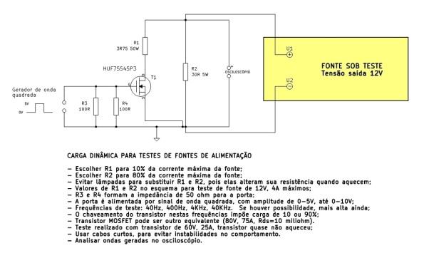 Figura 93 – Carga dinâmica para fontes de 12V, 4A, baseada em Circuit Cellar [28].