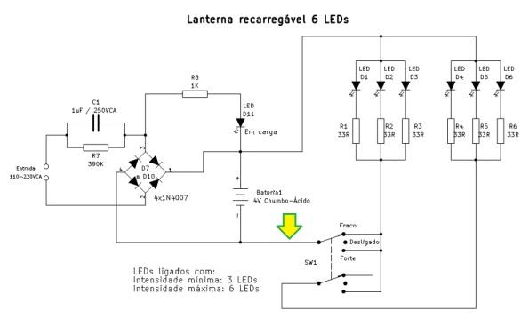 Figura 4 – Esquema completo da lanterna recarregável de 6 LEDs.