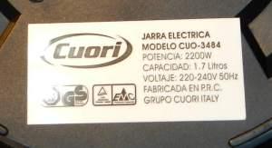 Figura 27 – Etiqueta de jarra elétrica Cuori, de 2200W.