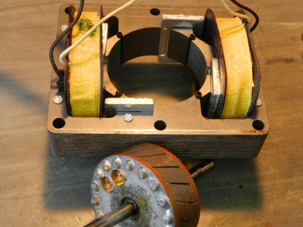 Figura 55 – Rotor e estator do motor de 4 polos sombreados, em detalhe.