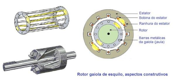 Figura 65 – Rotor de gaiola de esquilo, visto de três maneiras, com destaque para o efeito de espira em curto circuito nos polos. Fonte: SH Freitas [97].