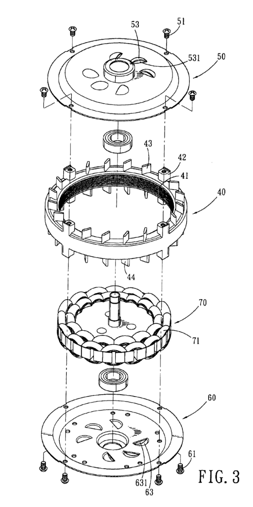 Figura 77 – Vista explodida de um ventilador de teto. Fonte: Google Patents [115].