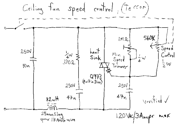 Figura 82 – Diagrama esquemático de controle eletrônico de velocidade de ventilador de teto. Fonte: Schematic.pics [122].