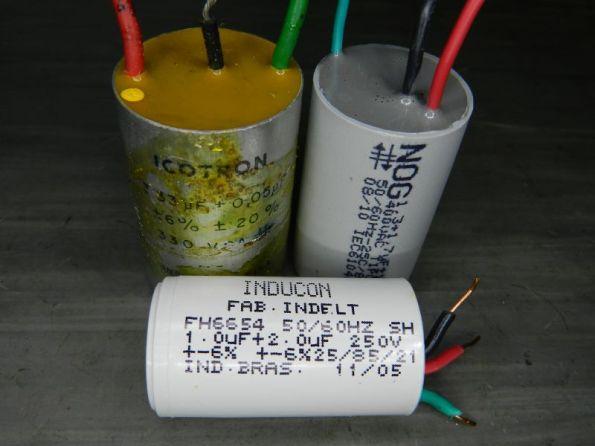 Figura 85 – Capacitores duplos comerciais (não necessariamente de ventiladores).