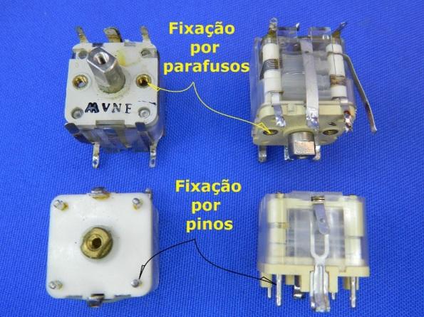 Figura 11 – Capacitores variáveis plásticos, com diferentes métodos de fixação à placa.