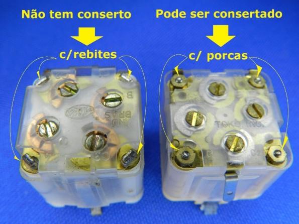 Figura 12 – Capacitores variáveis plásticos, um deles impossível de ser consertado.