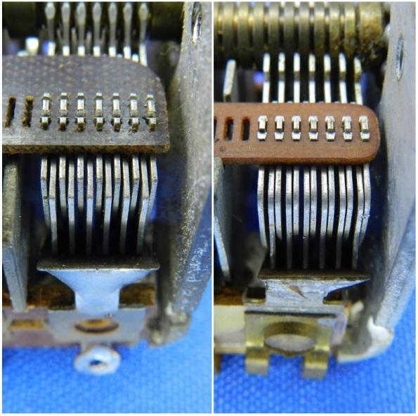 Figura 15 – Detalhe de seções de 2 capacitores variáveis. À esquerda, uma seção normal, alinhada, ao contrário da imagem à direita.