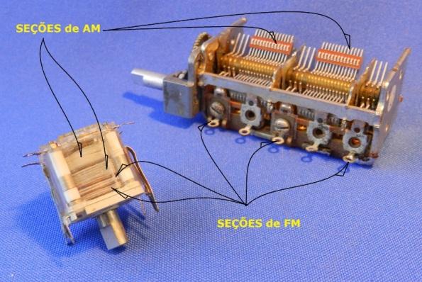 Figura 4 – Capacitores variáveis de AM e FM. O da esquerda é utilizado em rádios portáteis e o da direita em aparelhos 3x1.