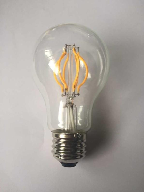 Figura 11 – CE-UL-230V-120V-led-filament-bulb.jpg - Lâmpada com filamentos LED curvos. Fonte: Hesunny [25].