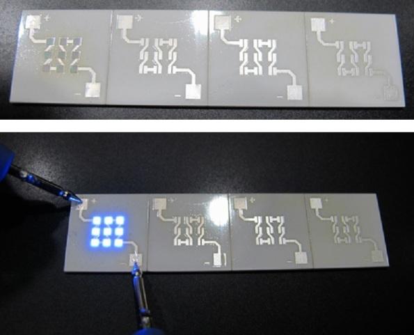 Figura 22 – Módulos de LEDs COB (Chips on Board) da CheeringSun, modelo CLF1515, antes da finalização. O módulo mais à esquerda já recebeu os FCLEDs. Abaixo, os LEDs em teste. Pode-se perceber que os chips são pouco espessos. Fonte CheeringSun [53].