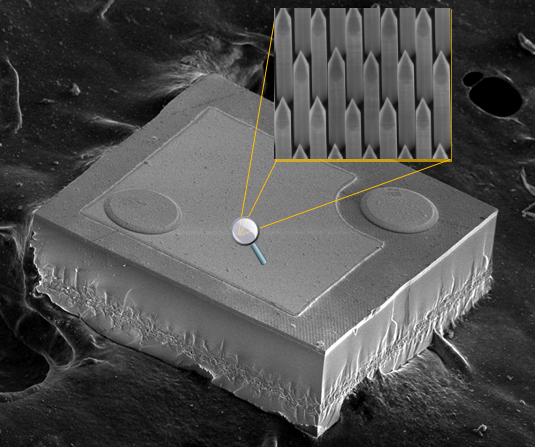 Figura 26 – Chip LED visto por microscópio eletrônico, onde aparece a texturização da superfície, feita por nanotecnologia. Fonte: Glō [58].