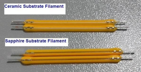 Figura 7 – Filamentos LED construídos sobre base de cerâmica ou safira, da marca ENGLED. Fonte: DIY Trade [22].